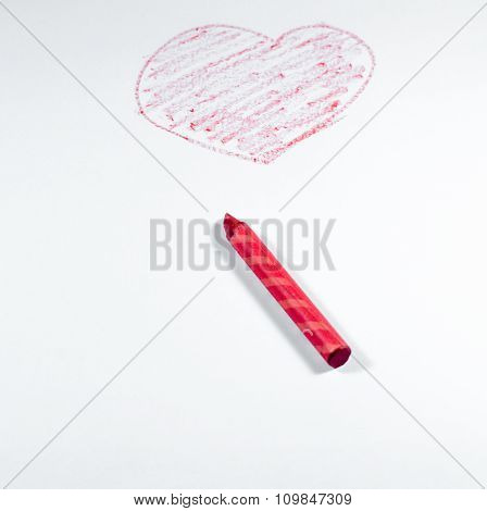 Hand Draw By Red Crayon, Heart Shape Isolated On White Background With Red Crayon
