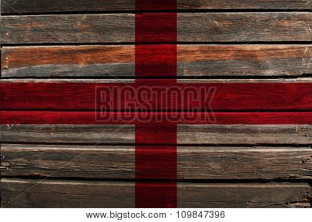 Flag of England on wood