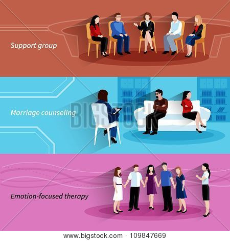 Relationship counseling therapy flat banners set