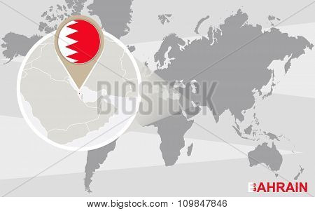 World Map With Magnified Bahrain