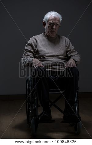 Old Man On Wheelchair