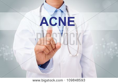 Doctor hand touching ACNE sign on virtual screen. medical concept