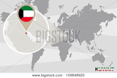 World Map With Magnified Kuwait