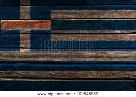Flag of Greece on wood