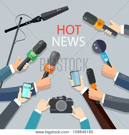 Hot News Live Report Concept Live News Hands Of Journalists With Microphones