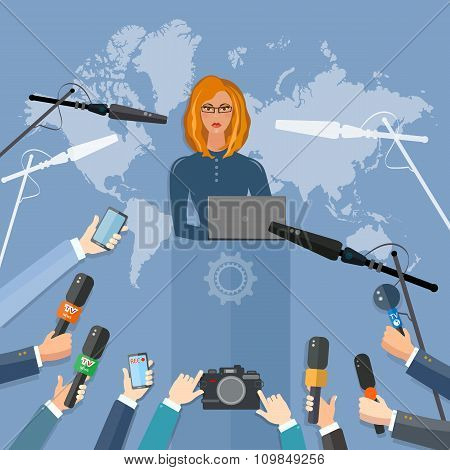 News Conference World Live Tv Interview Concept Hands Of Journalists Microphones