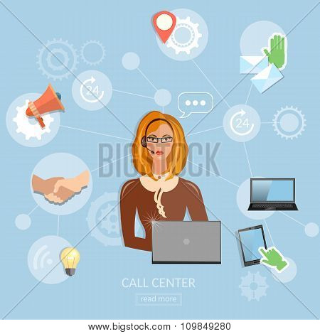 Call Center Concept Technical Support Helpline Woman Operator With Headphones