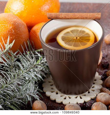 Christmas Decoration And Mug Of Tea