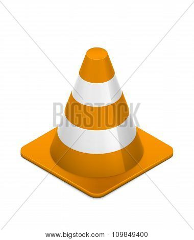 Road cone on white