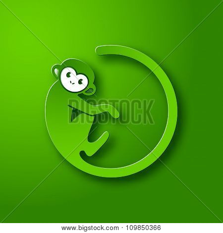 Monkey Logo In A Shape Of A Circle On Green Background, New Year 2016, Vector Illustration Logo