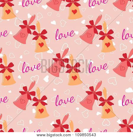 Wedding seamless pattern with elegant bells with hearts and bow