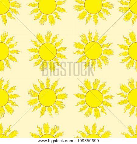 Seamless fiery sun