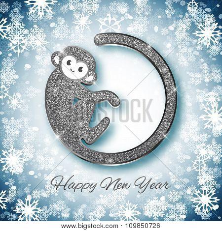 New Year Symbol 2016 Silver Glitter Monkey Design, Postcard, Greeting Card, Banner, Vector Illustrat
