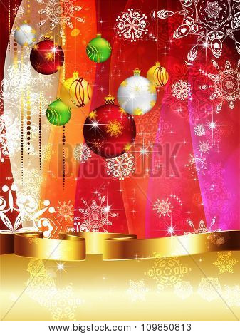 Colorful Background With Xmas Balls