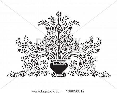 Asian traditional art Design Vector, Thai traditional design ( Lai Thai  ) - Vase and tree flower