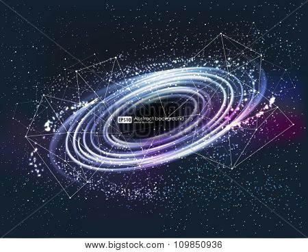 abstrsct space - a black hole. Cosmos Black hole in space. Stars and material falls into a black hole.