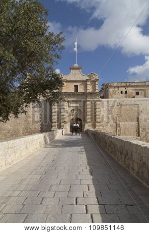 City Gate To The Medieval Town Mdina, Malta