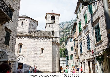 Kotor, Montenegro - August 10, 2015: View On Old Town Of Kotor Unesco Twon In Montenegro.