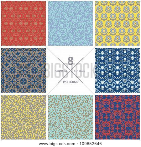 Set Of Vector Seamless Flourish Patterns. Vintage Decorative Backgrounds