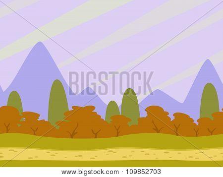 Cartoon flat seamless landscape