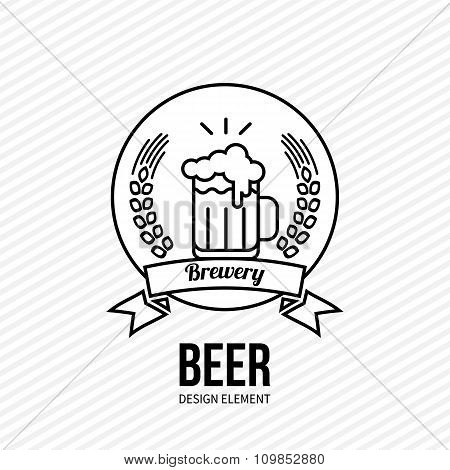 Beer And Barley Vector Emblem