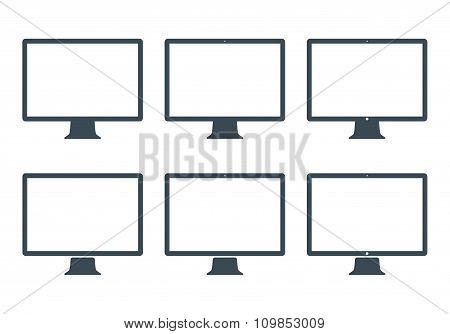 Monitor Icons Set Gray Color On The White Background. Stock Vector Illustration Eps10