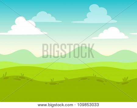 Cartoon flat seamless landscape