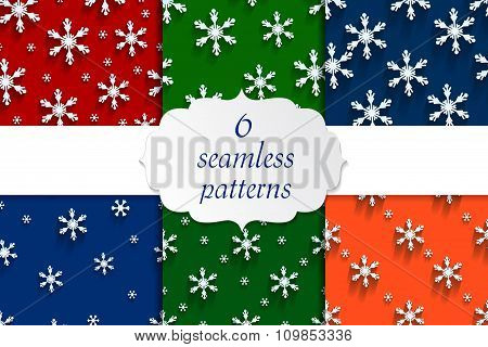 Seamless  pattern set with snowflakes