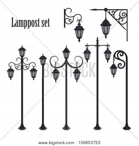 Set Of Different Ornate Lampposts.