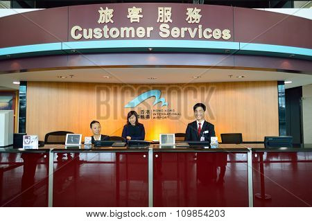 HONG KONG - NOVEMBER 03, 2015: customer sevises desk in Hong Kong Airport. Hong Kong International Airport is the main airport in Hong Kong. It is located on the island of Chek Lap Kok