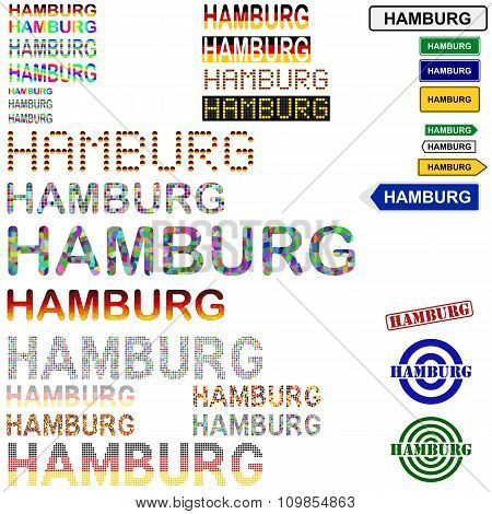 Hamburg text design set