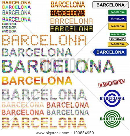 Barcelona text design set - Catalonian version
