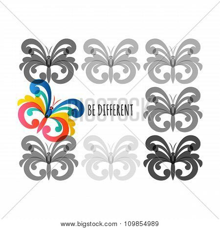 Be Different, Vector Illustration. Grey And Colorful Butterflies Icons.