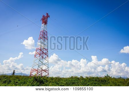Telecommunication Tower And Blue Clear Sky With Copyspace