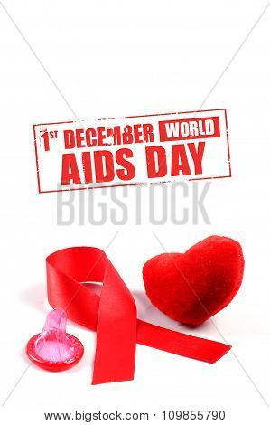 Aids ribbon, heart and condom