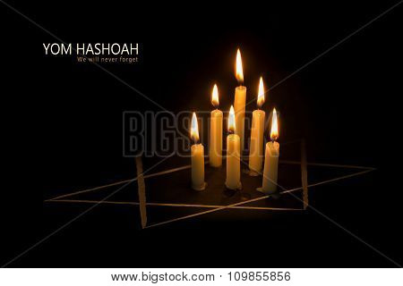 Yom Hashoah,  Burning Candles And The Star Of David Against Black Background