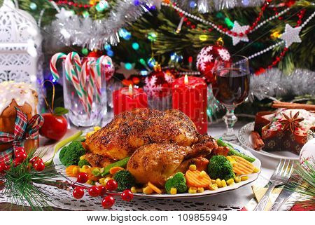 Roasted Chicken With Vegetables For Christmas