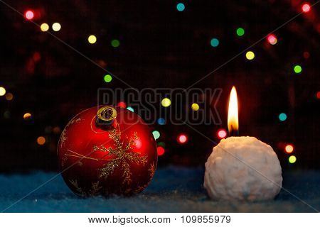 Christmas-tree decoration and snowball-candle