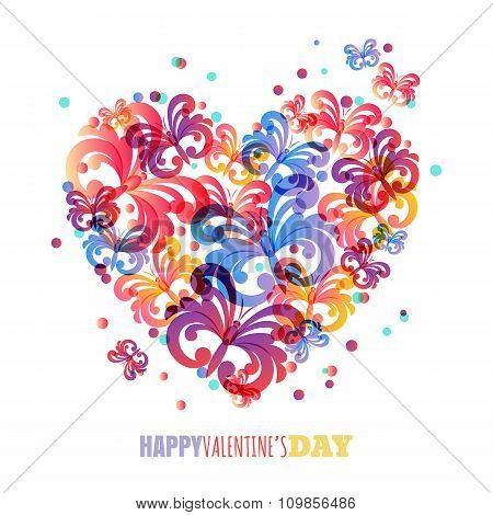 Valentines Day Background. Vector Greeting Card Template With Colorful Butterflies In Heart Shape.