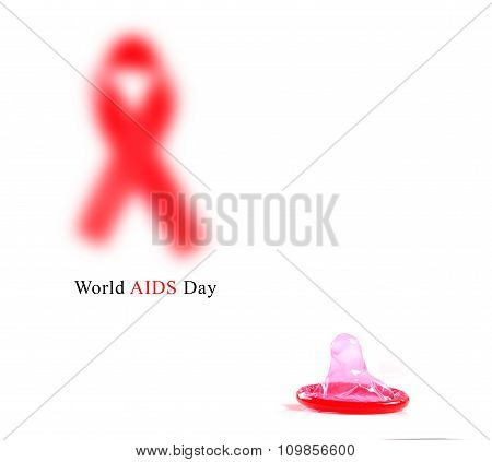 Aids ribbon and condom