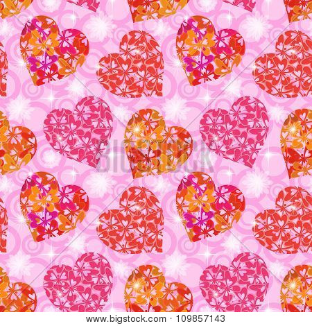 Seamless Pattern, Hearts with Butterflies