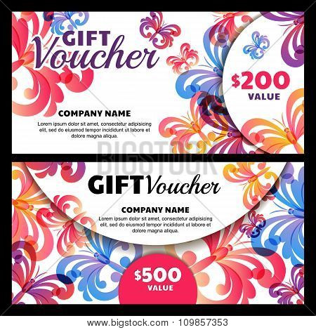 Vector Gift Voucher With Butterflies.