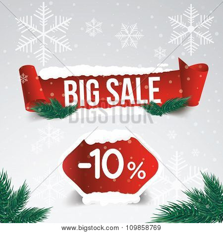 Winter Sale 10 Percent. Winter Sale Background With Red Ribbon Banner And Snow. Sale. Winter Sale. C