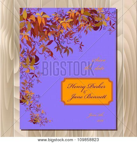 Autumn wild grape wedding card. Printable vector background illustration.