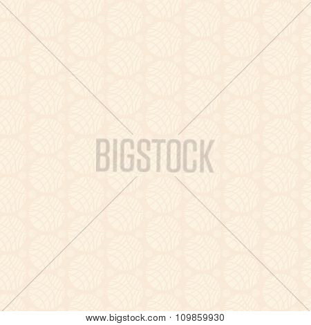 Pale Ivory Ornament Of Striped Spheres On Light Beige Background