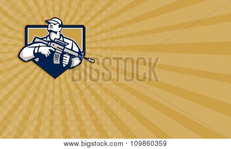 Business Card Soldier Military Serviceman Assault Rifle Retro