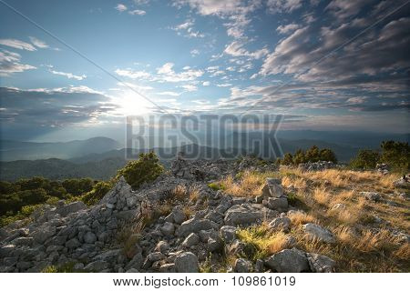 Sunrise in the Dinaric mountains