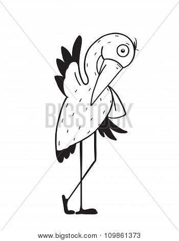 Stork Cartoon Childish Character for Kids