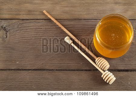 honey on old wood background