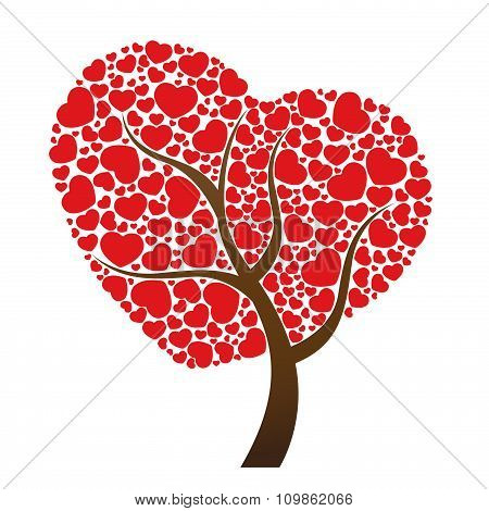 Red heart leaf and tree vector design